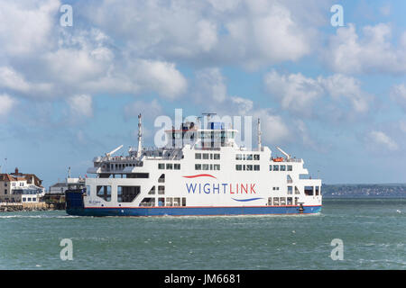 Wightlink ferry leaving Portsmouth Harbour for Isle of Wight, Portsmouth, Hampshire, England, United Kingdom - Stock Photo