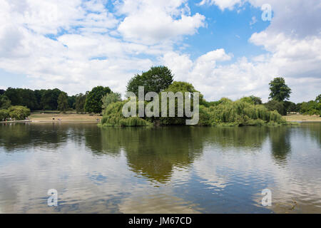Lake and Heron Island in Verulamium Park, St.Albans, Hertfordshire, England, United Kingdom - Stock Photo