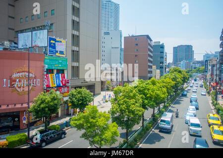 OSAKA, JAPAN - JULY 18, 2017: Aerial view of Osaka cityscape in autumn season at Osaka, Japan - Stock Photo