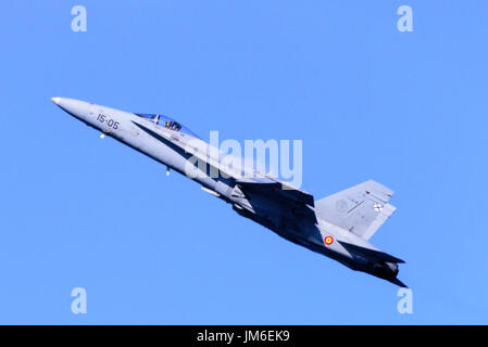 McDonnell Douglas EF-18 F-18 Hornet supersonic jet fighter from the Spanish Air Force. - Stock Photo