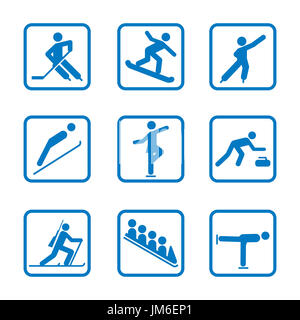 Winter sport icon Set. Winter Olympic club signs, fitness exercises - Stock Photo