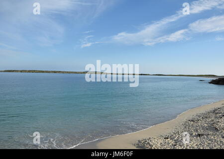 Sandy beach next to Wild Atlantic Way in the County Galway, Ireland - Stock Photo