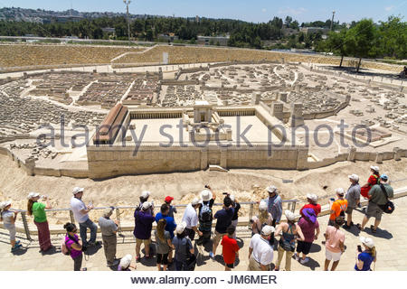 Tourists view the Second Temple Model at the Israel Museum in Jerusalem. - Stock Photo