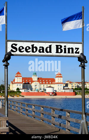 Pier and Baltic Seaside Resort in Binz at Ruegen Island, Mecklenburg-Western Pomerania, Germany, Europe - Stock Photo