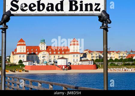 Pier and Baltic Seaside Resort in Binz at Ruegen Island, Mecklenburg-Western Pomerania, Germany, Europe - Stock Photo