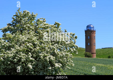 Peilturm Tower on the slavic fortress wall, exhibition building, Kap Arkona, Wittow Peninsula, Ruegen, Germany, - Stock Photo