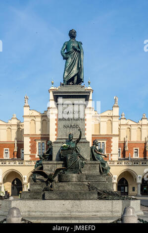Monument of Adam Mickiewicz, Polish national romantic poet and dramatist on Main Market Square in Krakow, Poland. - Stock Photo