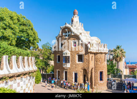 Barcelona Catalunya Park Guell barcelona parc guell barcelona entrance porters lodge casa del guarda tourists  Barcelona - Stock Photo
