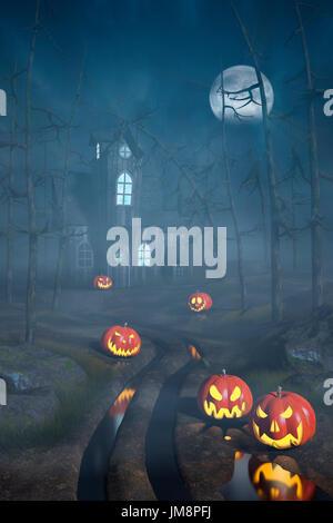 Dark forest path, scary Halloween night atmosphere background ...