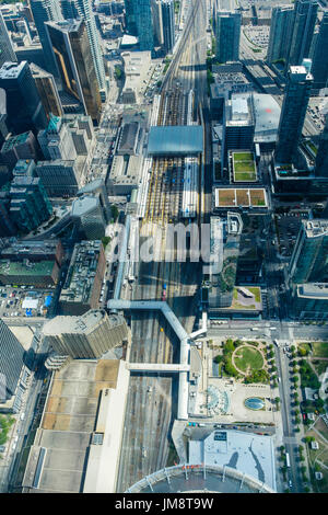 Aerial view of Union Station and surrounding area from the viewing platform of the CN Tower, downtown Toronto. - Stock Photo