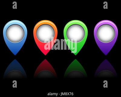colorful vector stickers on black background. 10eps - Stock Photo
