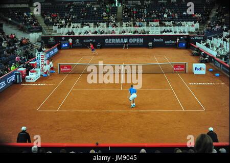 German Open 2017, ATP World Tour, Philipp Kohlschreiber (GER, front) vs. Andrey Rublev (RUS, back), Hamburg, GeRMANY: - Stock Photo