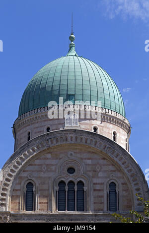Great Synagogue of Florence in the historical center of the city, green copper cupola, Florence, Italy - Stock Photo
