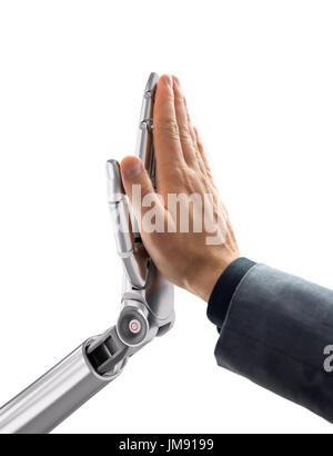 Robot and Human Giving a High Five. Artificial Intelligence Technology Concept 3d Illustration - Stock Photo