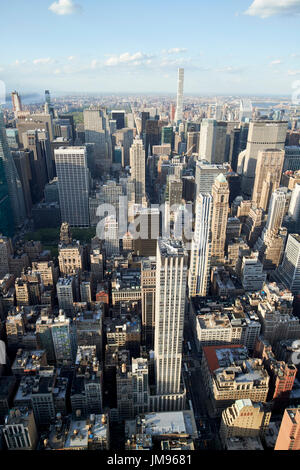 aerial view of midtown north central manhattan viewed from empire state building observatory New York City USA - Stock Photo