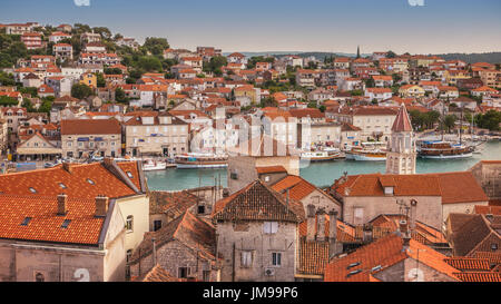 High angle view of Trogir, Croatia, Dalmatian coast, Adriatic Sea, a UNESCO world heritage site. - Stock Photo
