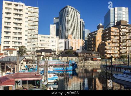 Tokyo, Japan - Jan 1, 2016. Buildings located Shinawa district in Tokyo, Japan. - Stock Photo
