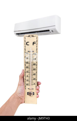 Wooden thermometer in hand in the front of air conditioner. Isolated on white background with copy space - Stock Photo