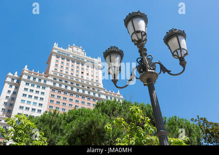Old, Ornate Street Lighting in Plaza de Espana, Madrid, Spain - Stock Photo