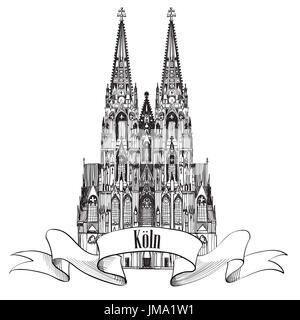 German city Cologne travel symbol. Koln Dom Cathedral, Germany, Europe. Hand drawn sketch vector landmark symbol. - Stock Photo
