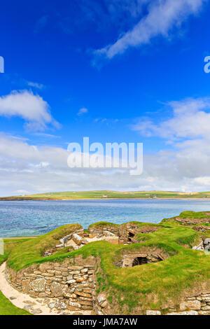 Skara Brae - neolithic village ruins near Sandwick, Orkney Island, Scotland, UK. UNESCO World Heritage Site. - Stock Photo