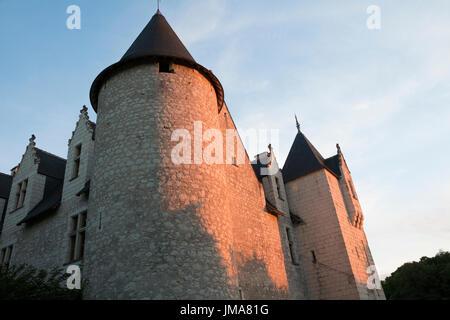 Chateau et Jardins du Rivau, Loire Valley, France, sunset reflected on castle walls - Stock Photo