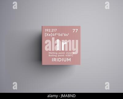 Iridium. Transition metals. Chemical Element of Mendeleev's Periodic Table. Iridium in square cube creative concept. - Stock Photo