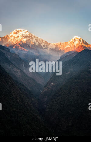 Annapurna mountain sunset - Stock Photo