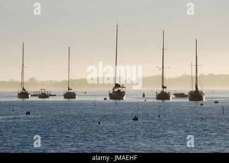 Four boats in Manchester-by-the-Sea - Stock Photo
