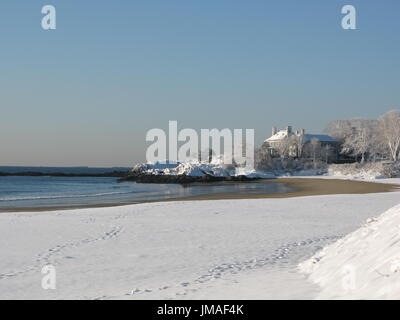 Winter day on Singing Beach, Manchester-by-the-Sea - Stock Photo