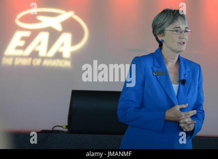Oshkosh, Wisconsin, USA. 26th July, 2017. United States Secretary of the Air Force Heather Wilson speaks during - Stock Photo