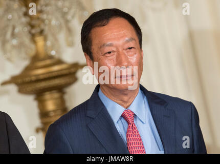 Washington, Us. 26th July, 2017. Foxconn CEO Terry Gou listens during the announcement of the creation of a Foxconn - Stock Photo