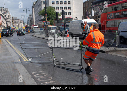 London, UK. 27th July, 2017. Barriers put in place in the Strand outside Charing Cross station in the West End for - Stock Photo