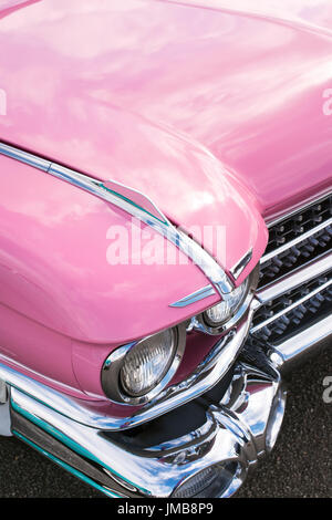 1959 Pink Cadillac at an american car show. Essex. UK - Stock Photo