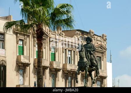Aegypten, Alexandria, Reiterstandbild des Muhammad Ali Pasha am  Tahrir Square - Stock Photo