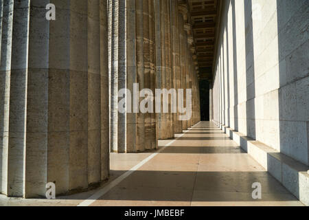 Pillars in light and shadow at walhalla, famous memorial near regensburg in bavaria, germany. - Stock Photo