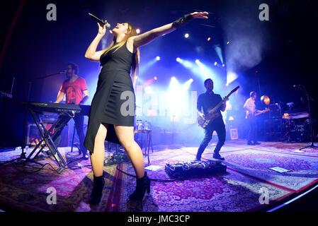 BARCELONA - MAR 18: La Oreja de Van Gogh (Spanish band) perform in concert at Barts stage on March 18, 2017 in Barcelona, - Stock Photo