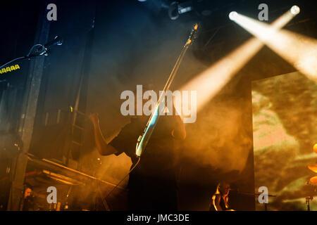 BARCELONA - APR 27: Placebo (alternative rock music band) in concert at Razzmatazz stage on April 27, 2017 in Barcelona, - Stock Photo