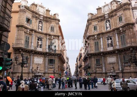 Quattro Canti, North, Castellamare, autumn, Piazza Vigliena, and East, Palermo, Sicily, Italy - Stock Photo