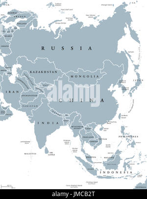 Asia political map with borders and countries. Largest and most populous continent. Gray illustration on white background. - Stock Photo