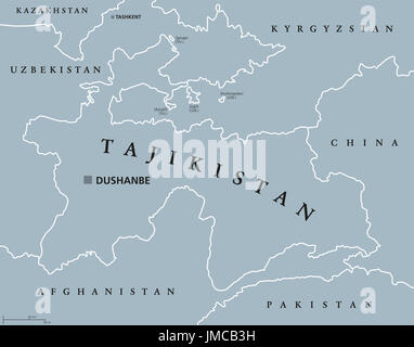 Tajikistan political map with capital Dushanbe and borders. Republic and landlocked country in Central Asia. Gray - Stock Photo