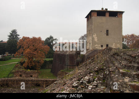 Italy, Pistoia - November 27 2016: the view over the medieval towers of Medici Fortress of Santa Barbara on November - Stock Photo
