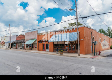 Typical small town store fronts in southern USA, Hurtsboro, Alabama, Main Street. - Stock Photo
