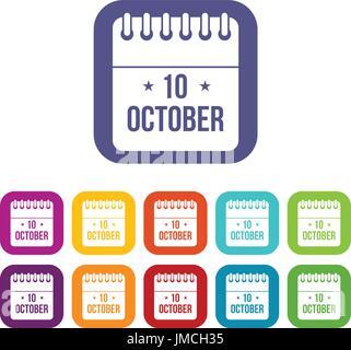 10 october calendar icons set - Stock Photo