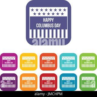 Happy Columbus day icons set - Stock Photo