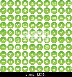 100 charity icons set green - Stock Photo