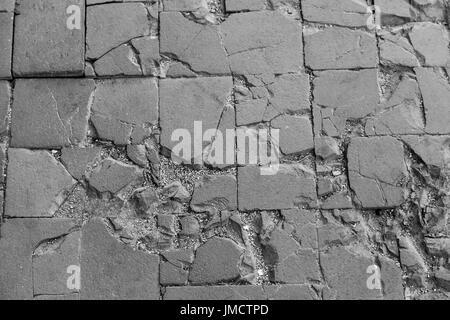 Black and white old bricks - Stock Photo