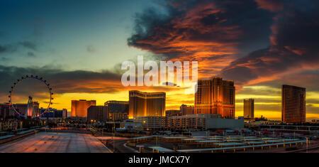 Sunset panorama above casinos on the Las Vegas Strip - Stock Photo