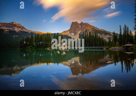 Sunset over Emerald Lake with Mount Burgess in the background in Yoho National Park, British Columbia, Canada. Long - Stock Photo