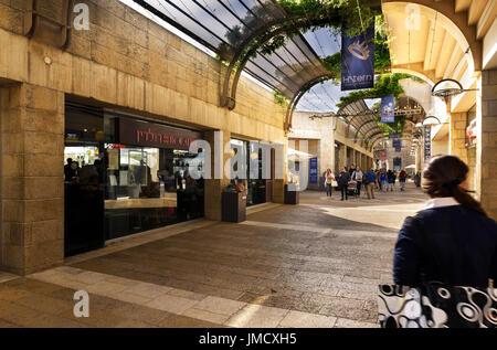 Jerusalem, Israel - May 05, 2017: Mamilla Mall, Alrov Mamilla Avenue, shopping street, open-air mall in Jerusalem, - Stock Photo